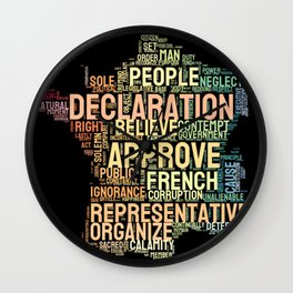 Word Cloud 1 - The Declaration of the Rights of Man and of the Citizen Wall Clock