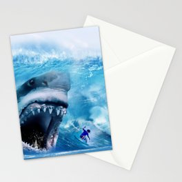 Megalodon attacks Surfer in a Wave Stationery Cards