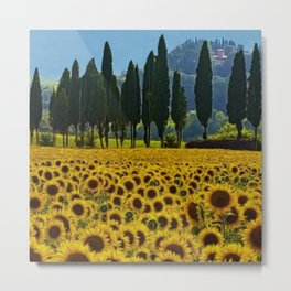 'Sunflower Fields' landscape painting by Jeanpaul Ferro Metal Print