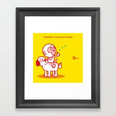 The Dog, the Monkey, and the Rain Framed Art Print