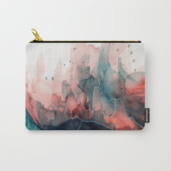 Watercolor dark green & red, abstract texture Carry-All Pouch