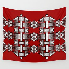 Weave on red background Wall Tapestry