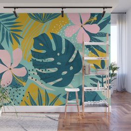 Hawaii Pastel Pink & Mint Green Tropical Floral-Prints Wall Mural