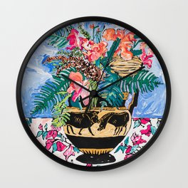 Tropical Banksia Bouquet after Matisse in Greek Boar Urn on Pale Painterly Blue Wall Clock