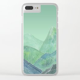 Lines in the mountains - green Clear iPhone Case
