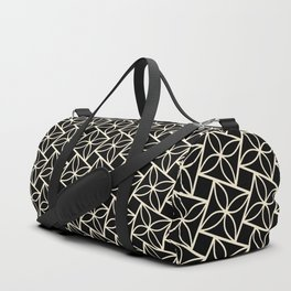 STACK attractive black & off-white squares with floral motif Duffle Bag