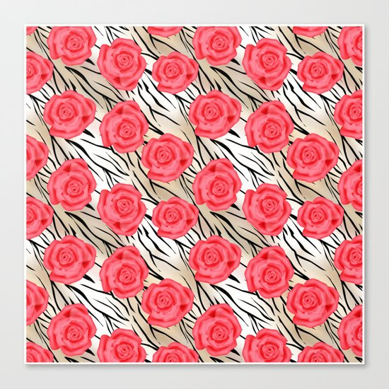 Red roses on a light tiger background . Canvas Print