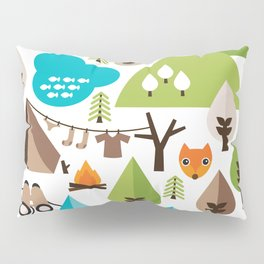 Wild camping trip with fox and wild animals illustration Pillow Sham
