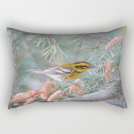A Townsend's Warbler Spruces Up Rectangular Pillow