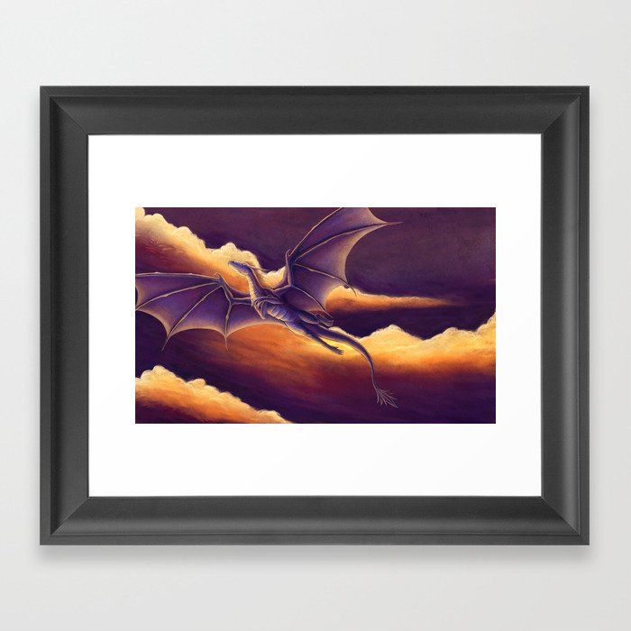 Sunset Dragon Framed Art Print