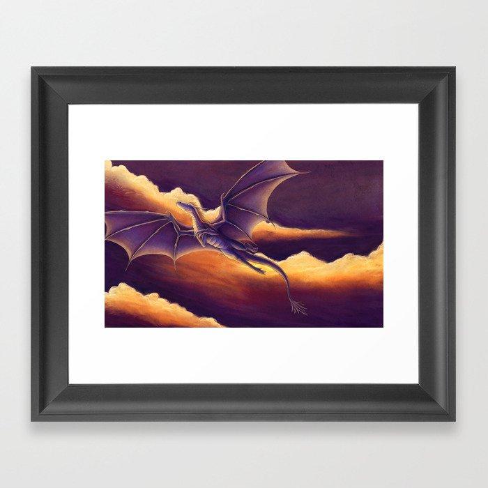 Sunset Dragon Framed Art Print