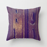 door Throw Pillows featuring door by gzm_guvenc