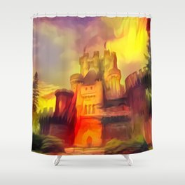 Red and Green Butrón Castle Shower Curtain