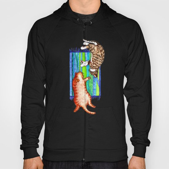 Good Company - two cats on a mat Hoody