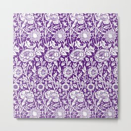 "William Morris Floral Pattern | ""Pink and Rose"" in Purple and White Metal Print"