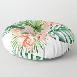 Tropical Jungle Hibiscus Flowers - Floral Floor Pillow