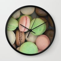 macaroons Wall Clocks featuring French Macaroons by Laura Ruth