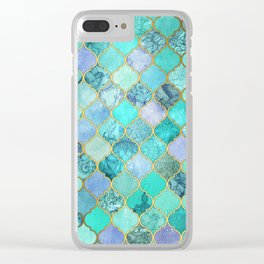 Cool Jade & Icy Mint Decorative Moroccan Tile Pattern Clear iPhone Case