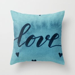 Valentine's Day Watercolor Love – teal Throw Pillow
