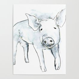 Happy Pig, watercolor Poster