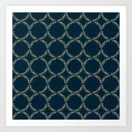Eucalyptus Patterns with Navy Blue Background Realistic Botanic Patterns Organic & Geometric Pattern Art Print
