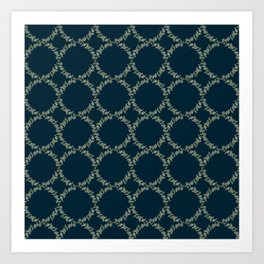 Eucalyptus Patterns with Navy Blue Background Realistic Botanic Patterns Organic & Geometric Pattern Art Print