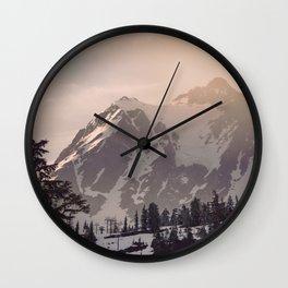 Pink Mountain Morning - Nature Photography Wall Clock