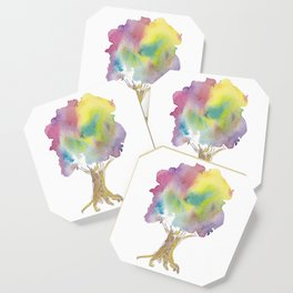Dreaming tree - watercolor and ink whimsical illustration Coaster