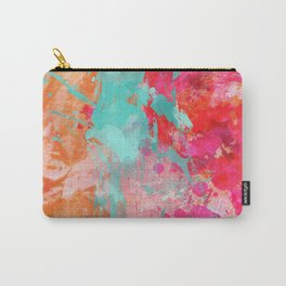 Paint Splatter Turquoise Orange And Pink Carry-All Pouch