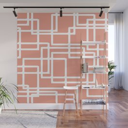 Retro Modern White Rectangles On Coral Wall Mural
