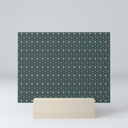 Circle Polka Dot Pattern 6, Night Watch, Alpaca Wool Cream and Scarborough Green Mini Art Print