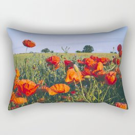 Poppies growing wild in a field of rapeseed. Castle Acre, Norfolk, UK. Rectangular Pillow
