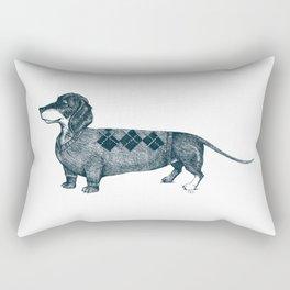 Dachshund wearing argyle sweater Rectangular Pillow