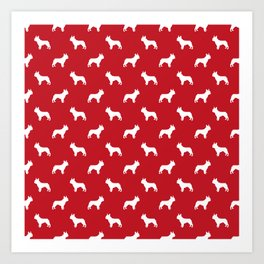 French Bulldog silhouette red and white minimal dog pattern dog breeds Art Print
