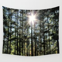 the shining Wall Tapestries featuring Shining Star Woodlands by Judy Palkimas
