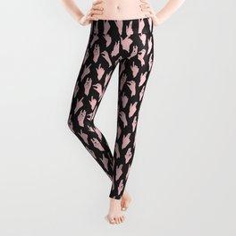 pink n black swipes Leggings