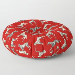Dalamatian Dogs & Dark Red Floor Pillow