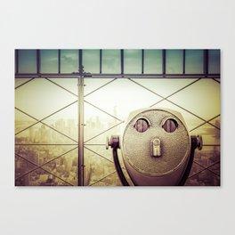 New York City Skyline Tourist Binoculars Canvas Print