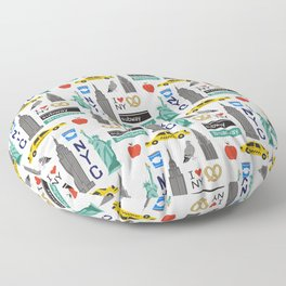 NYC travel pattern fun kids decor boys and girls nursery new york city theme Floor Pillow