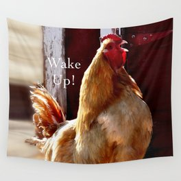 Wake Up! Rooster Wall Tapestry