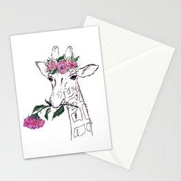Giraffe, Giraffe with flower, animal, nature Stationery Cards