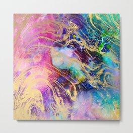 Modern gold marble on pastel pink purple watercolor nebula paint Metal Print
