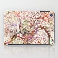 cincinnati iPad Cases featuring Cincinnati by MapMapMaps.Watercolors