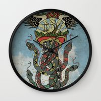 cthulu Wall Clocks featuring In To The Blue by Mark R. Skipper