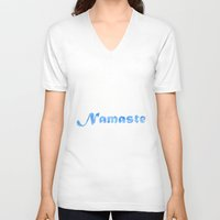 namaste V-neck T-shirts featuring Namaste by PatriciaRoberta