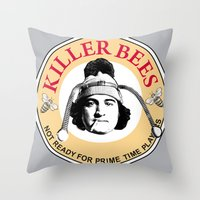 snl Throw Pillows featuring Killer bees: Not Ready for Primetime Players by sinistergrynn