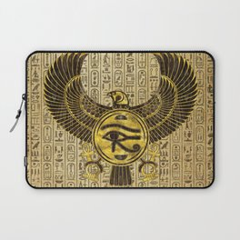 Egyptian Eye of Horus - Wadjet Gold and Wood Laptop Sleeve