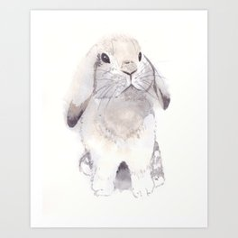Gray and brown little cute bunny rabbit Art Print