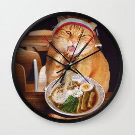 Funny Cat Eating Ramen Noodles Wall Clock