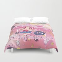 chibi Duvet Covers featuring Chibi Chibiusa by Neo Crystal Tokyo
